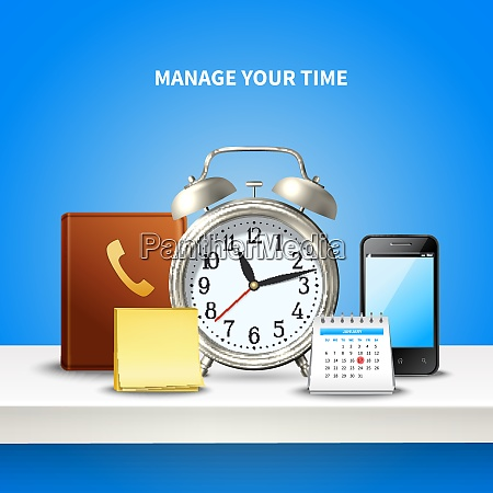 time management realistic and colored composition