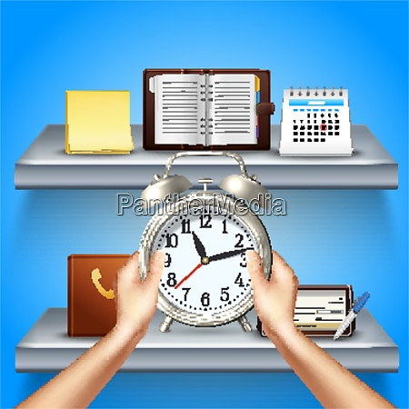 time management realistic 3d composition with
