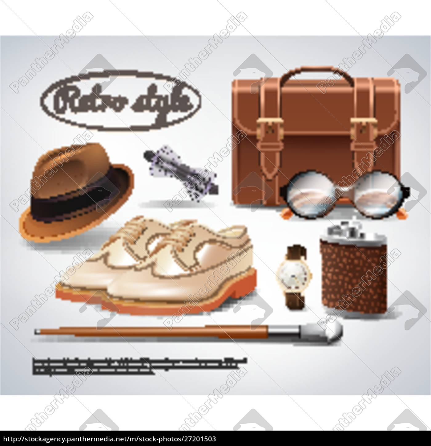 classic, retro, gentleman, accessories, realistic, set - 27201503
