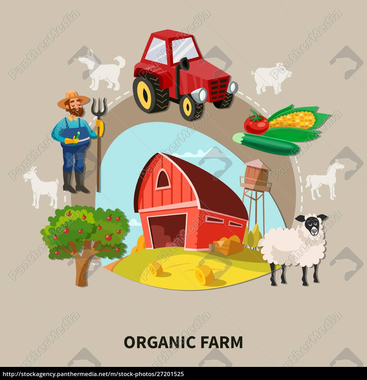 farm, cartoon, composition, organic, farm, headline - 27201525