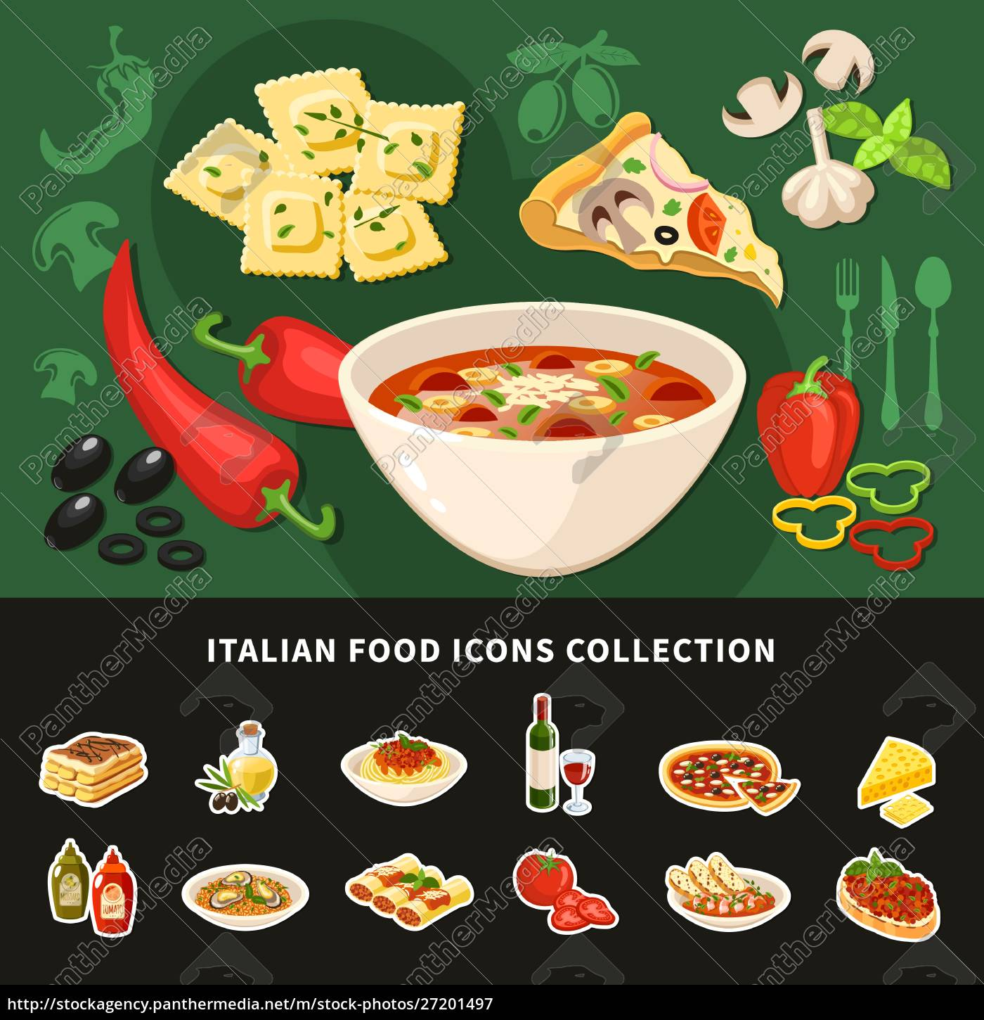 italian, food, icons, collection, of, national - 27201497