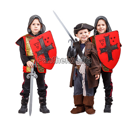 kids in medieval knight and pirate
