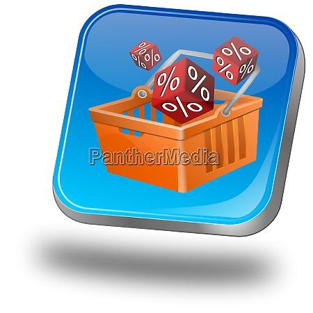 blue discount button 3d illustration