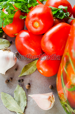 preparation marinated conservation tomatoes with herbs