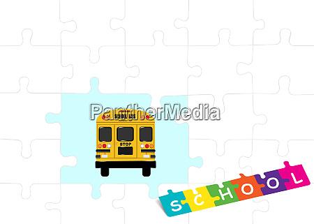 school bus template vector of puzzle
