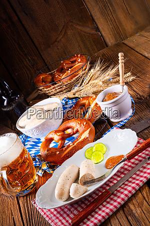 weisswurst pretzels and beer for oktoberfest