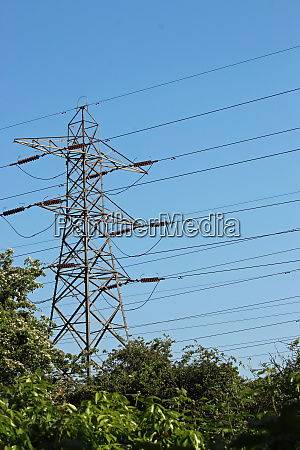 electricity pylon with trees