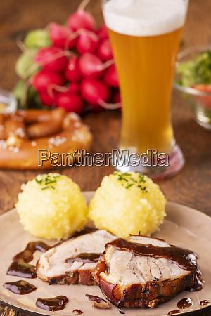 bavarian roasted pork with potato dumplings