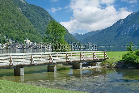 village of hallstatt at lake