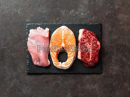 raw turkey breast fillet salmon and