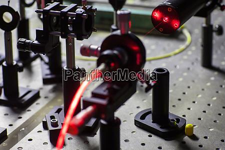 quantum optics lab installations with laser