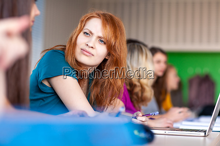 group of female college students working