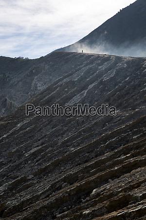 man volcanic crater
