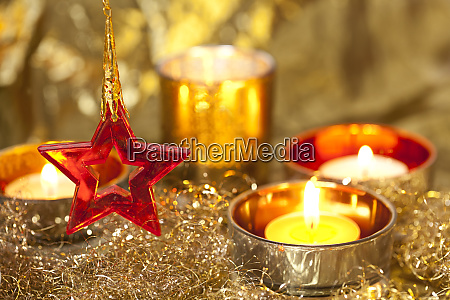 elegant gold christmas decoration with candles