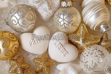 christmas decoration with heart and german