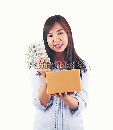 woman taking a lot of money