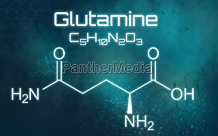 chemical formula of glutamine on a