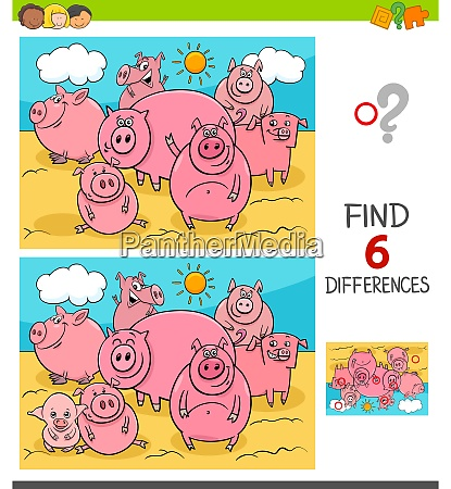 differences game with pigs farm animals