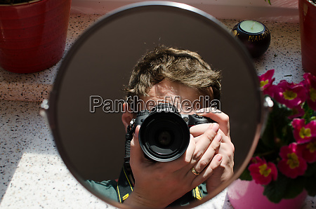 photograph in mirror