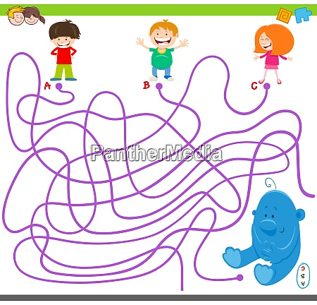 maze, game, with, kids, and, plush - 27213266