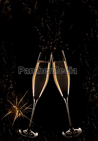 new year champagne with fireworks
