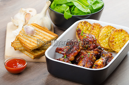 sticky chicken wings with garlic panini