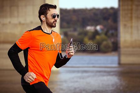 jogging with earphones