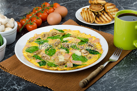 frittata with ham mushrooms and spinach