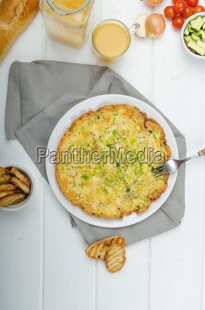 omelette with zucchini and mozzarella cheese