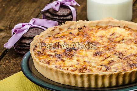 vegetarian quiche and biscuits dark chocolate