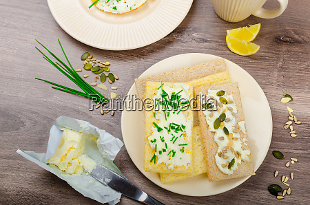crisp crispbread with cheese spread with