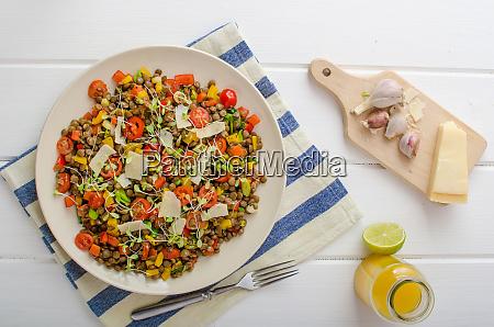 warm salad of lentils bio healthy