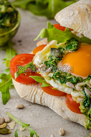 ciabatta with fried egg tomatoes and