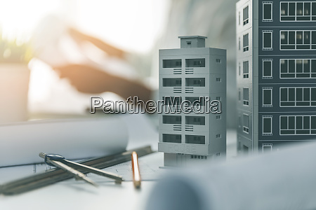 house scale models and drawings on