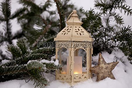 winter still life with lantern