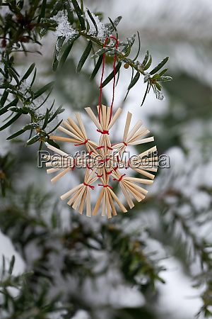 straw star christmas ornament in the