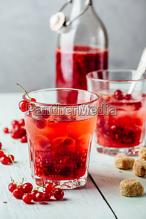 infused water with red currant and