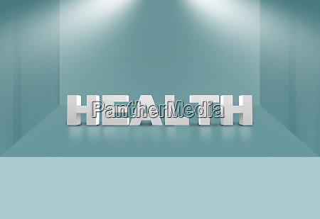 3d health text on 3d stage