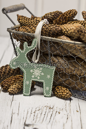 rustic christmas still life with pine