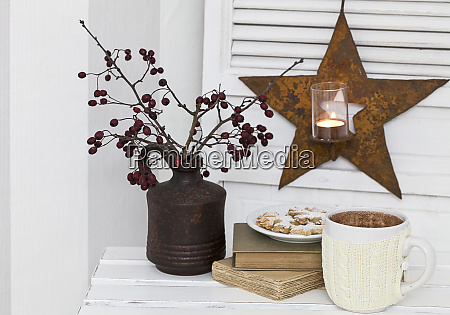 rustic christmas still life with cocoa
