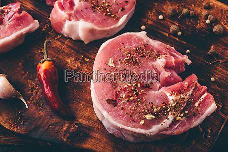 pork loin steak with different spices