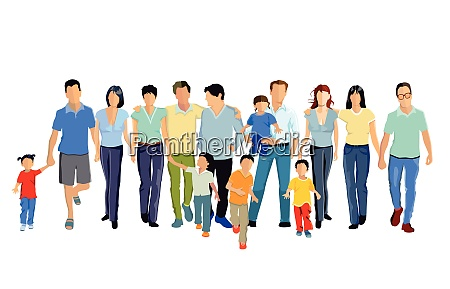 families at leisure group of people