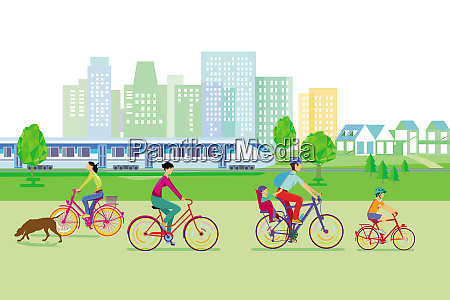 city silhouette with cyclists