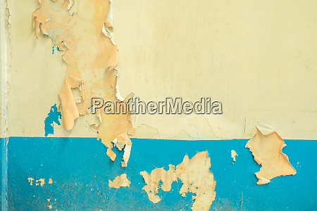 old white and blue peeling paint