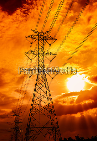 high voltage electric pole and transmission