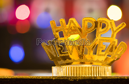 golden happy new year headband on