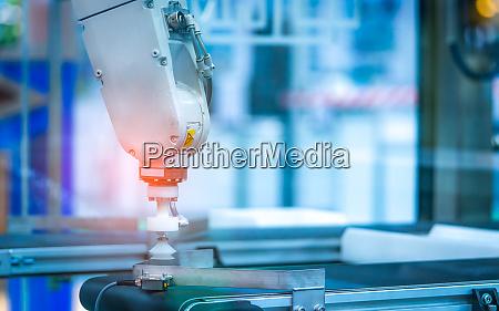 closeup robot hand machine use smart