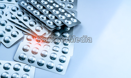 pile of tablets pills in blister