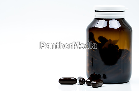 black hard gelatin capsule pills and