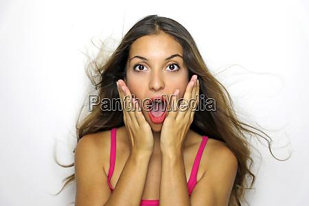 surprise astonished woman closeup portrait woman
